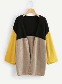 Wide Sleeve Color Block Cardigan