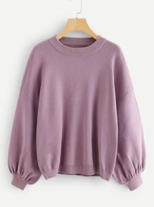 Lantern Sleeve Smooth Knit Pullover