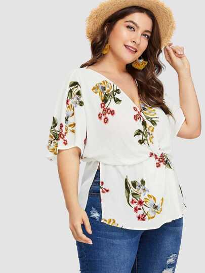 Flower Print Wrap Front Blouson Top