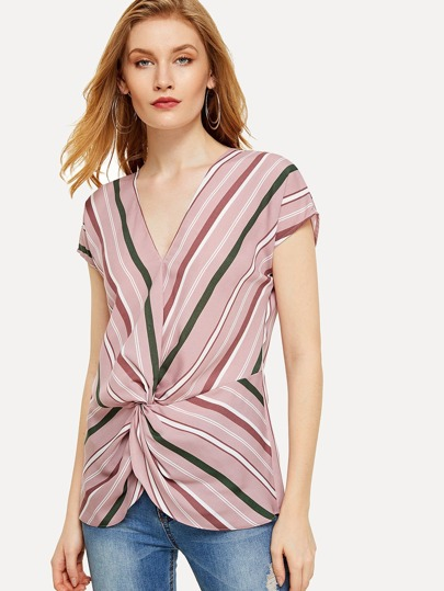 Dolman Sleeve Striped Twist Hem Blouse