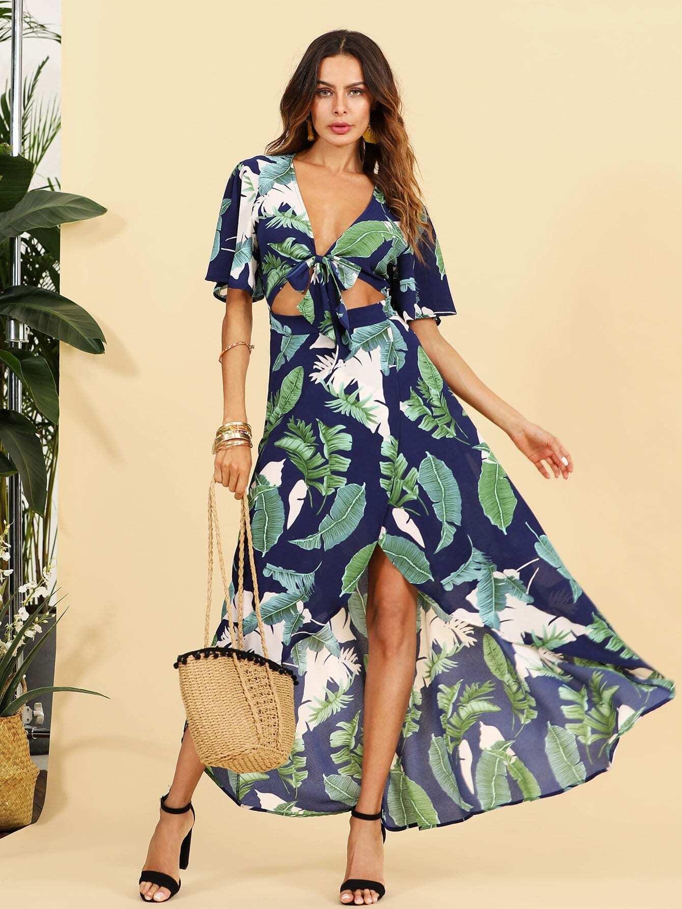 Open Midriff Knot Front Jungle Dress knot front cutout midriff halterneck gingham dress