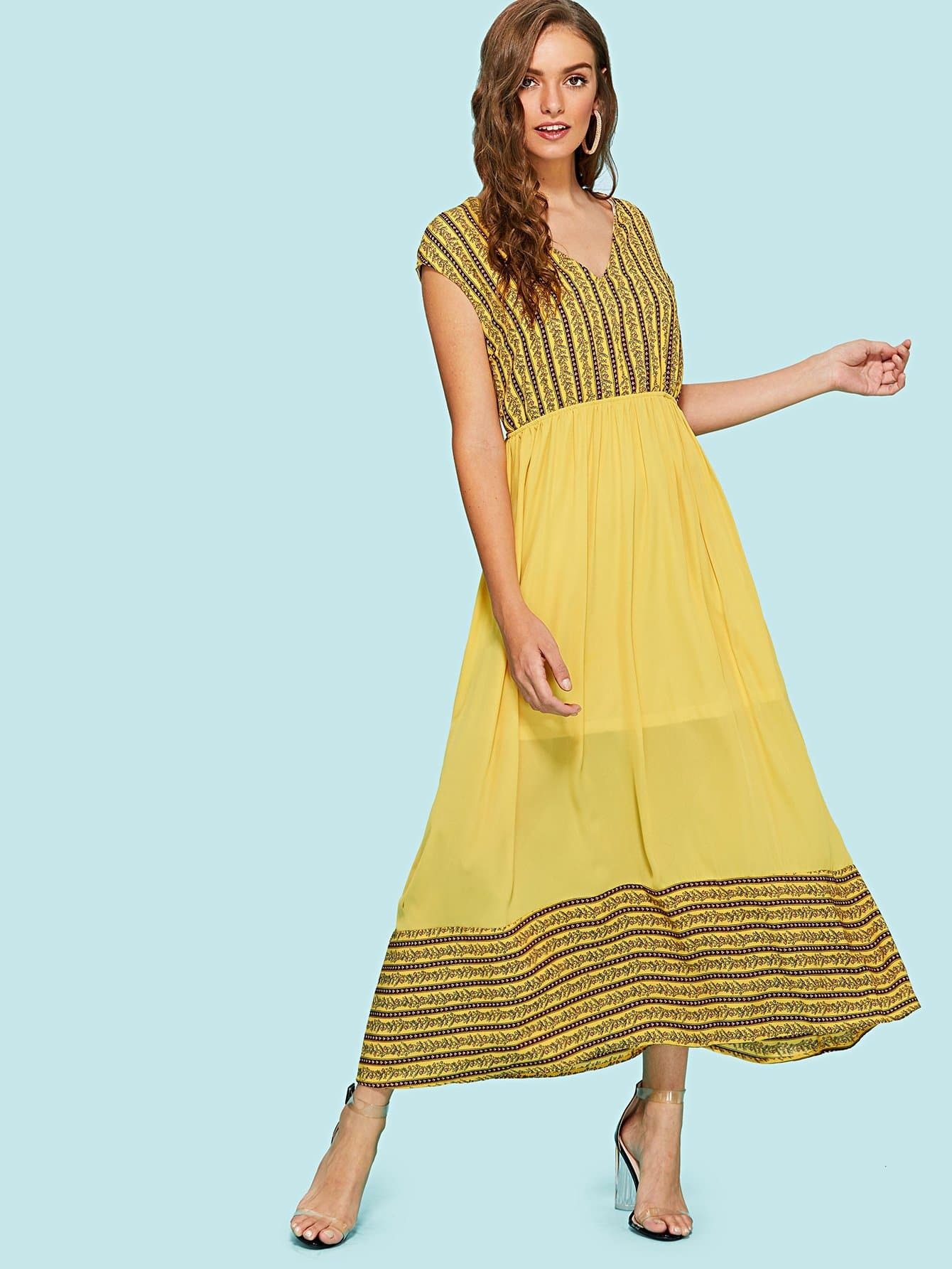 все цены на Elastic Waist Mix & Match Dress