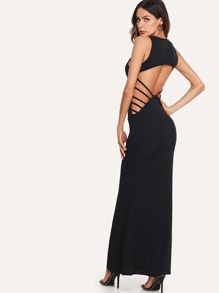 Ladder Cutout Detail Open Back Dress