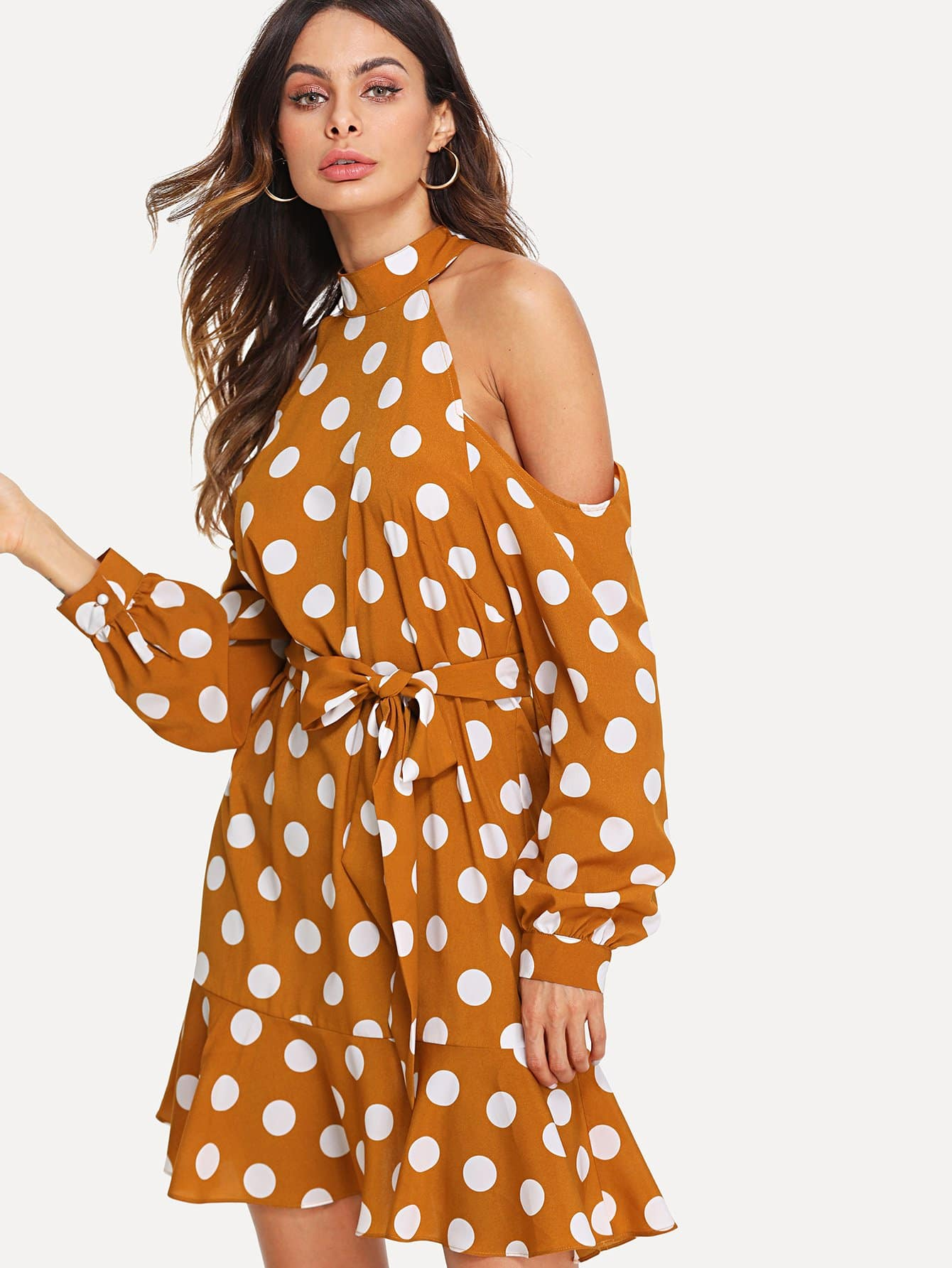 Self Belted Polka Dot Halter Cold Shoulder Dress flounce one shoulder polka dot dress