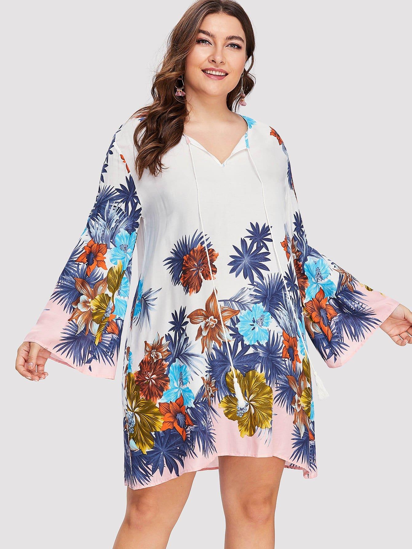 Купить Платье туника с принтом тропики, Franziska, SheIn