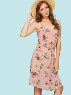 Twist Front Floral Cami Sundress