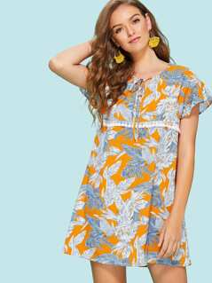 Tie Neck Lace Detail Tropical Tunic Dress
