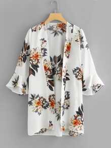 Ruffle Sleeve Longline Floral Kimono