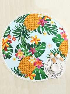 Pineapple Print Fringe Hem Beach Blanket