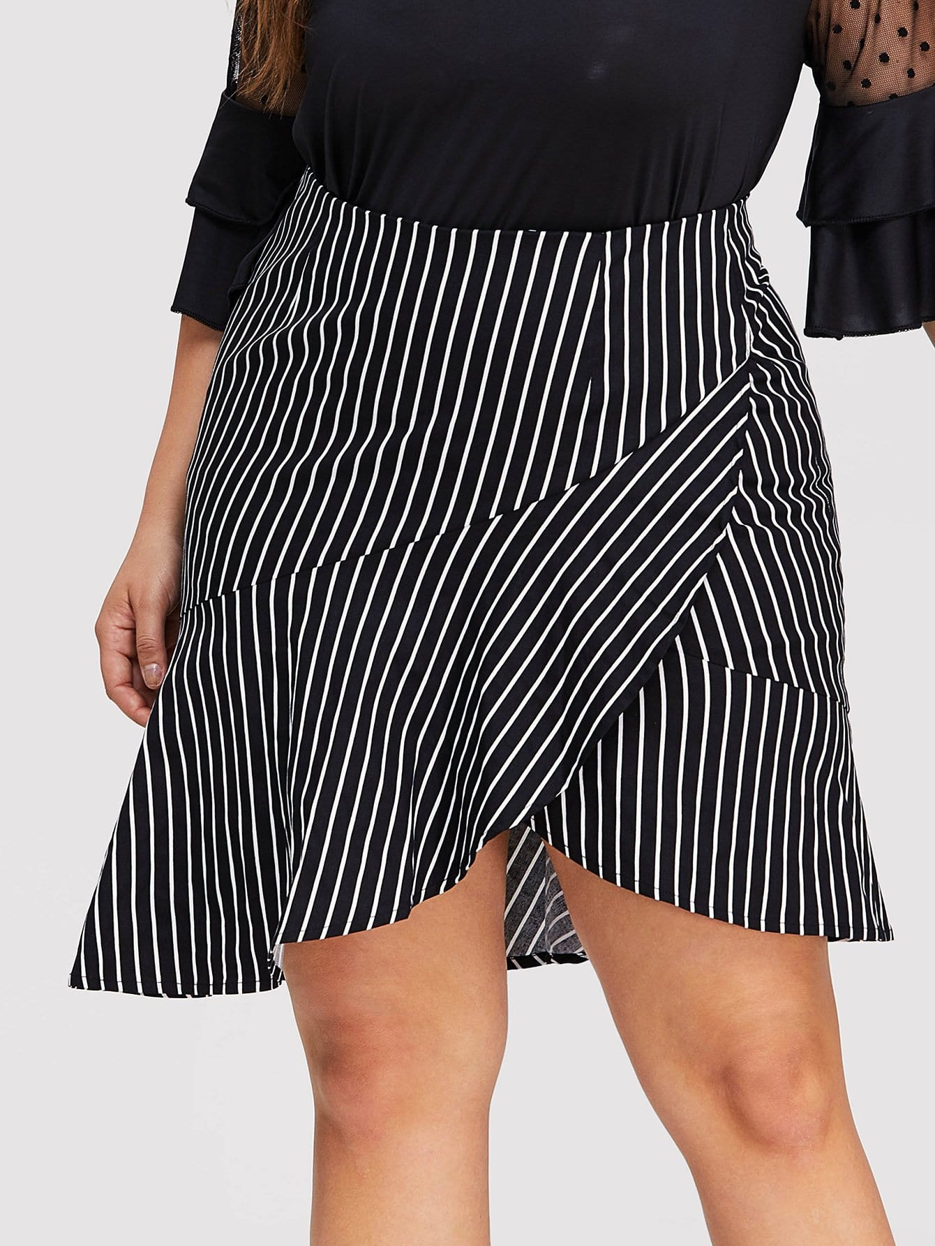 Plus Asymmetric Ruffle Hem Striped Wrap Skirt free shipping 10pcs ba6986fs