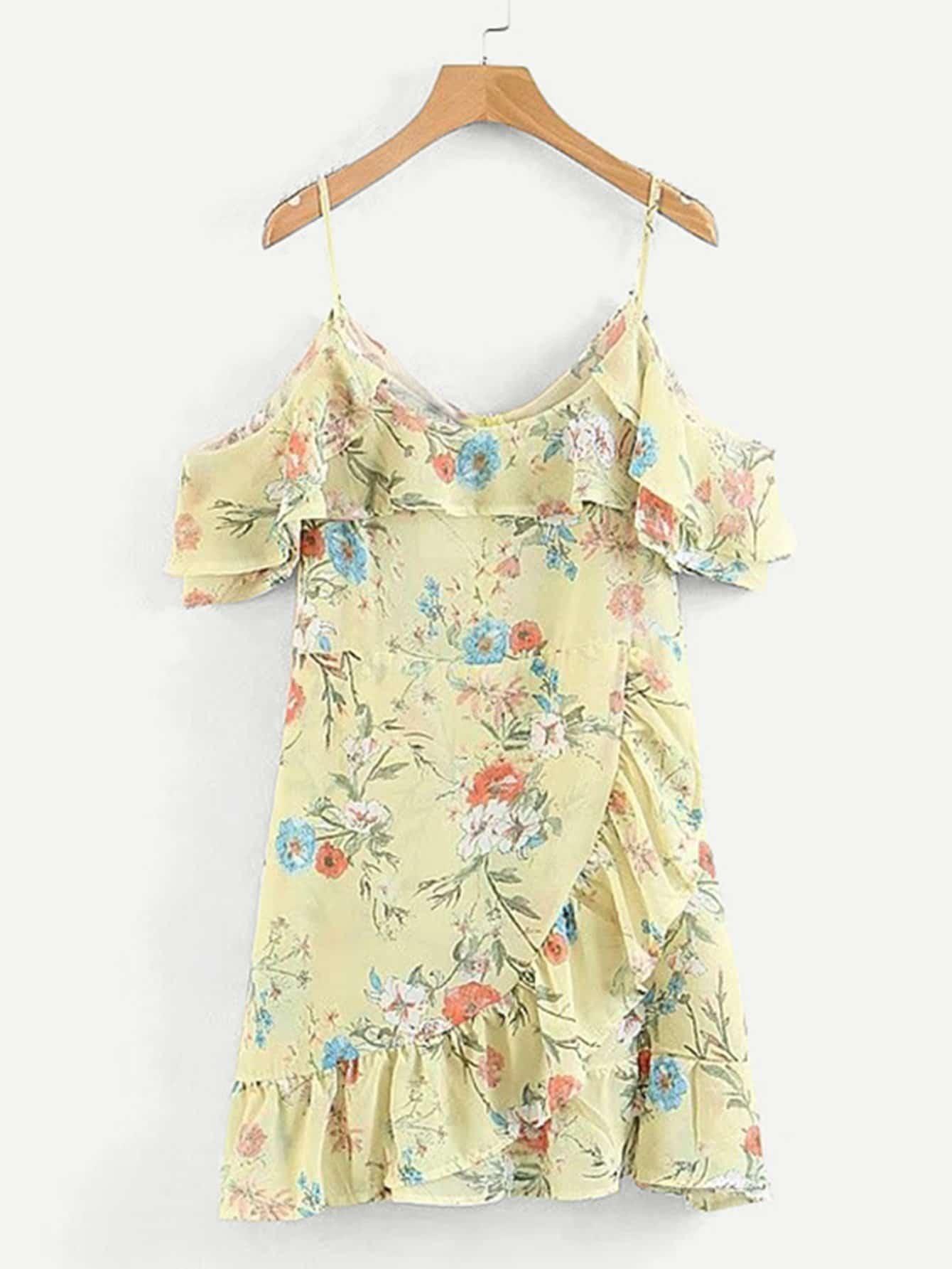 Random Florals Ruffle Trim Overlap Dress ruffle trim overlap hem dress