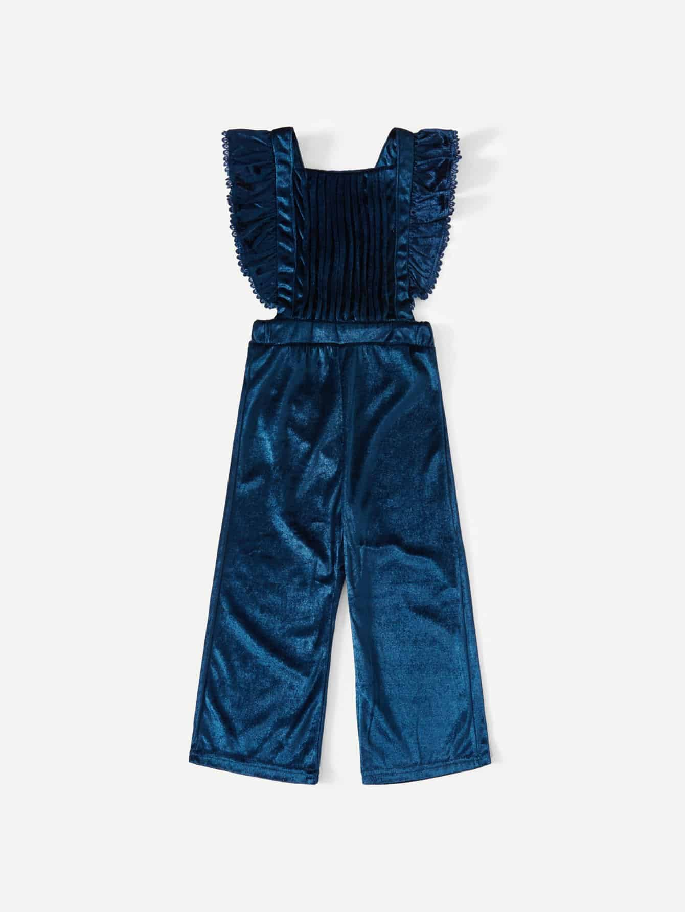 Girls Velvet Ruffle Trim Criss Cross Jumpsuit