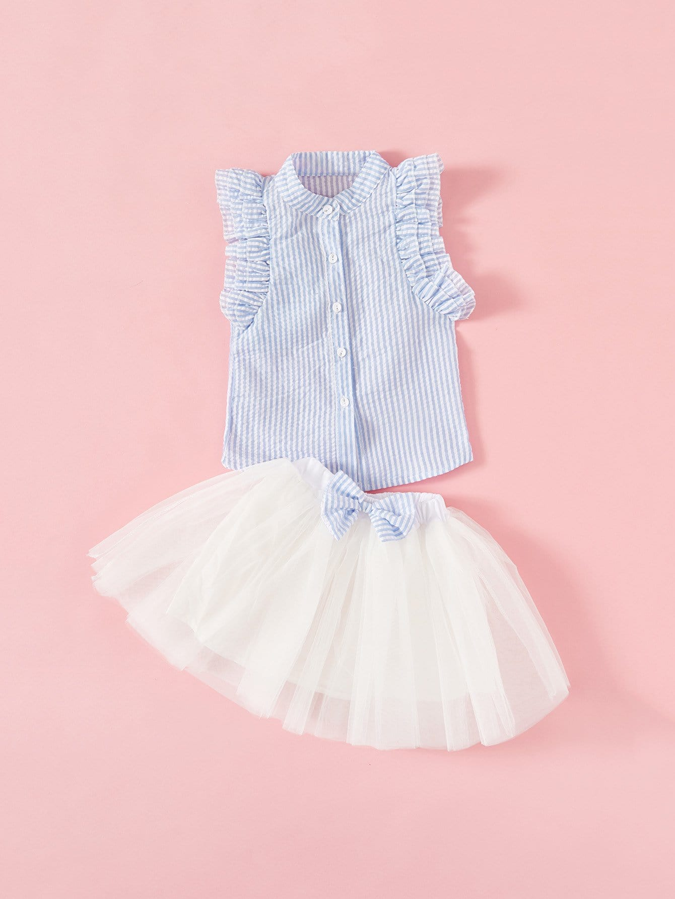 Girls Contrast Stripe Frill Trim Blouse With Skirt