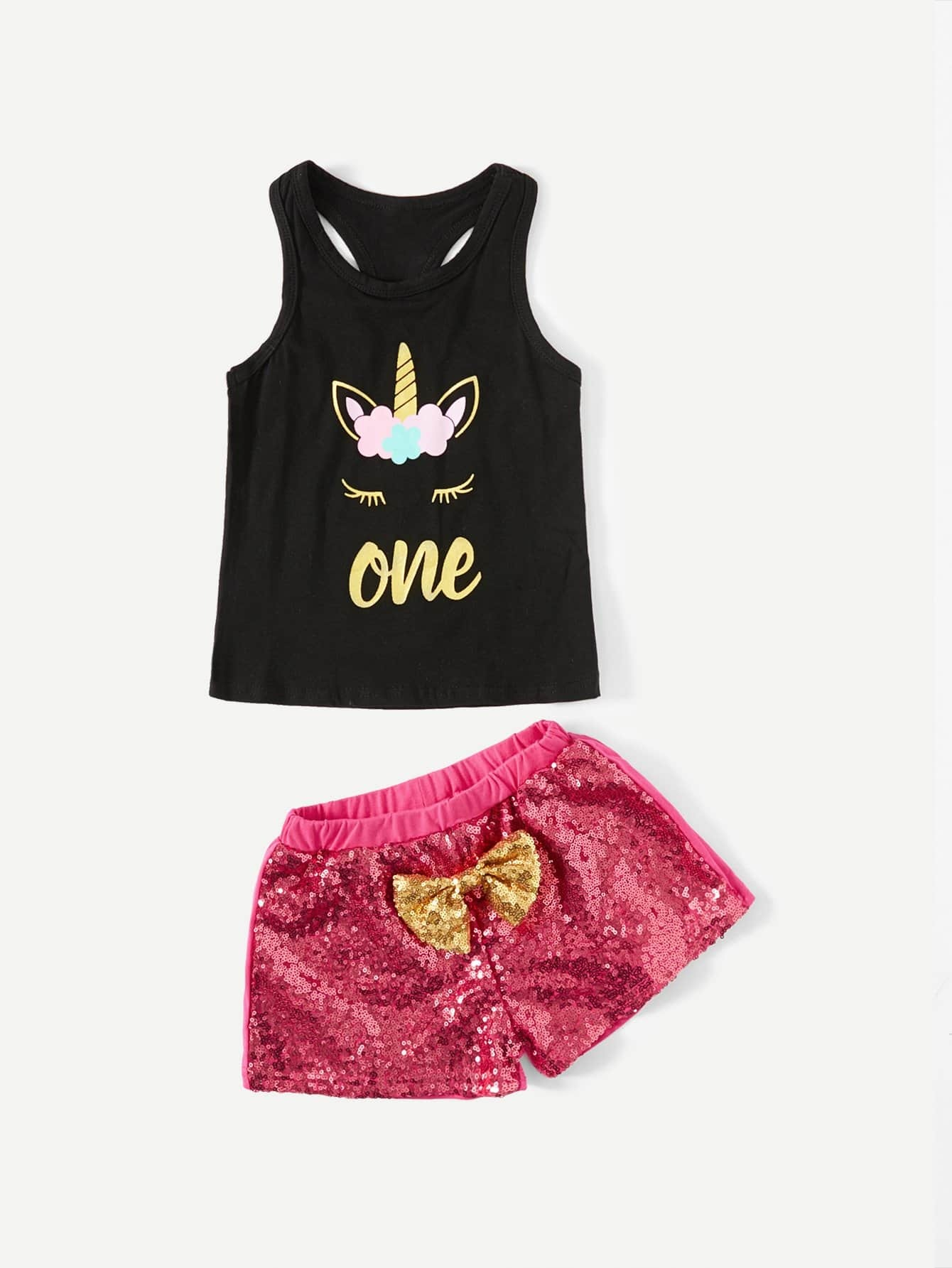Girls Printed Tank Top With Sequin Shorts