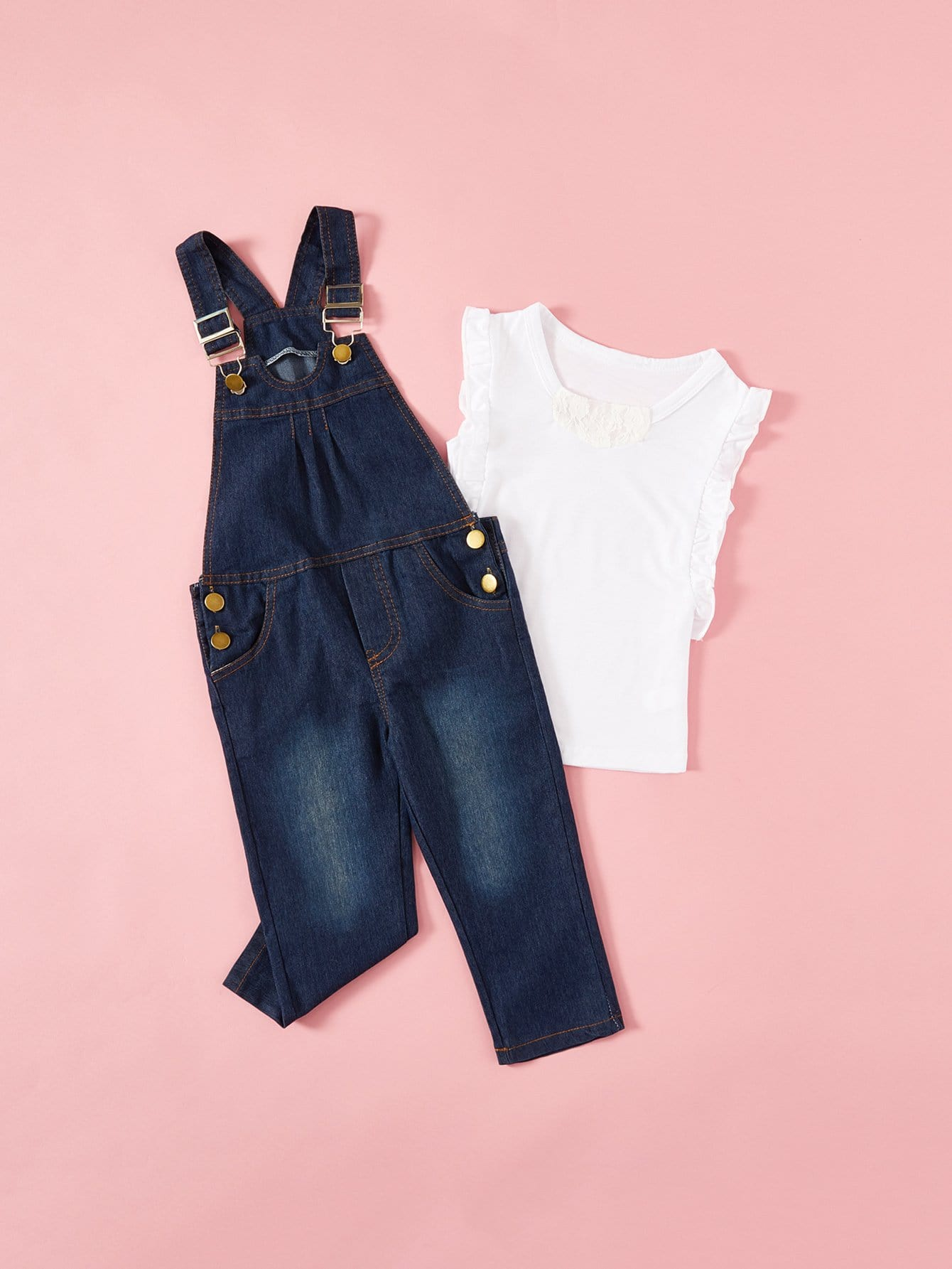 Kids Frill Trim Tee With Denim Overalls frill trim tee
