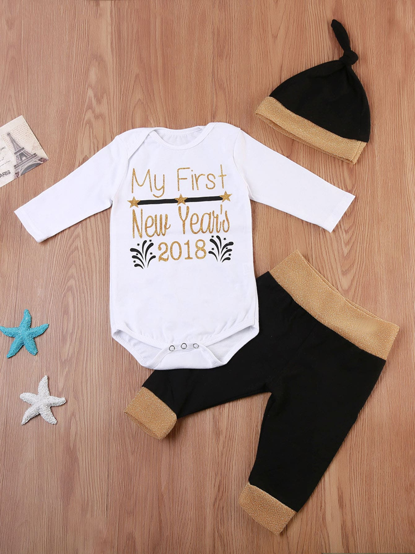 Kids Letter Print Romper & Pants Set With Hat
