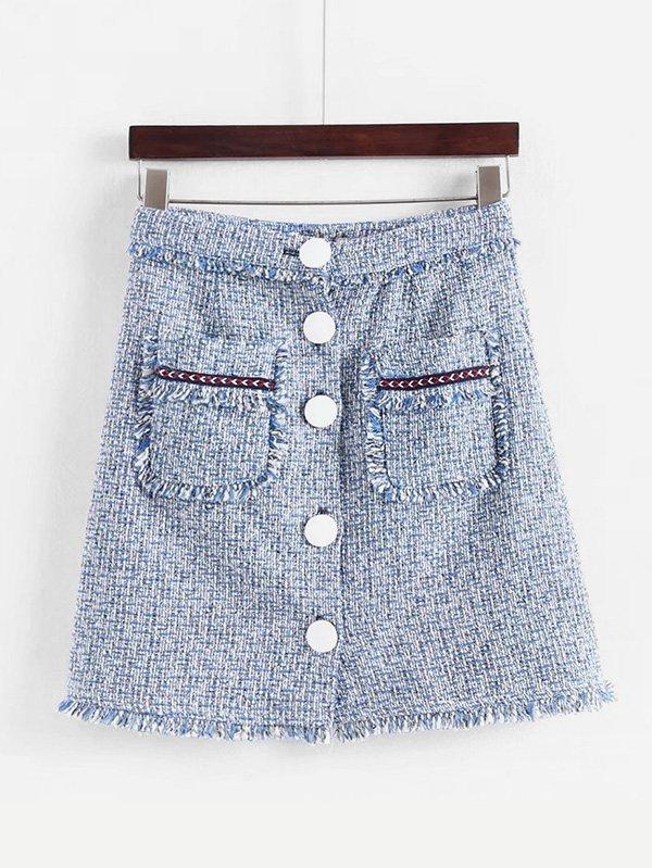 Tassel Trim Tweed Skirt frayed trim open front tweed blazer