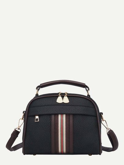 Striped Detail Curved Top Crossbody Bag