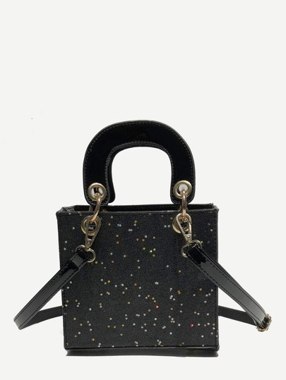Structured Glitter Shoulder Bag