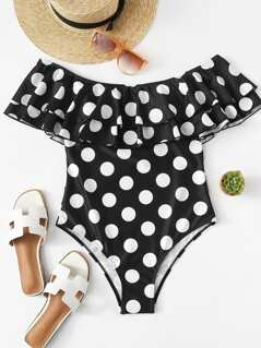 Flounce Layered Neck Polka Dot Swimsuit