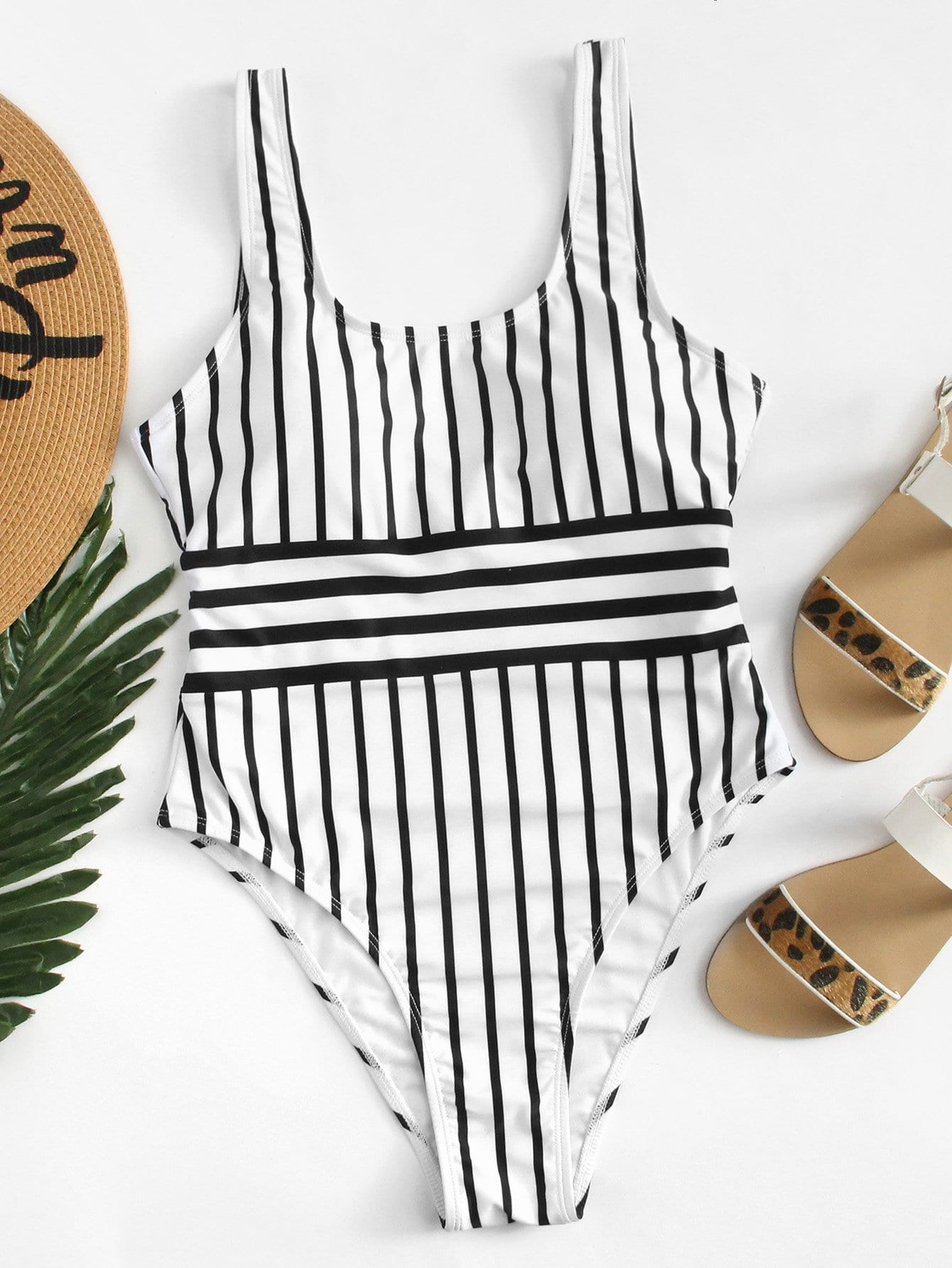 Thick Strap Mixed Striped Swimsuit mixed pattern swimsuit