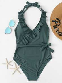 Knot Side Ruffle Halter Swimsuit