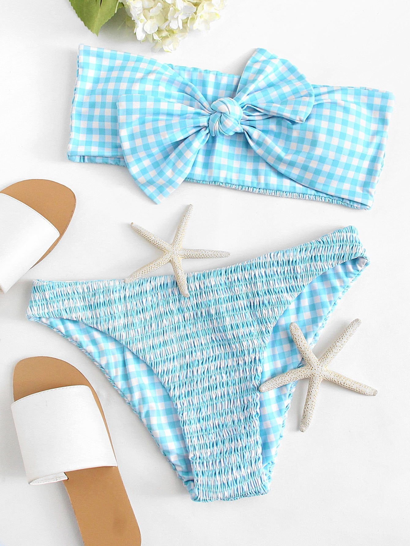 Knotted Gingham Bandeau Bikini Set knotted bow gingham headband 2pcs