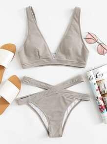 Crisscross Solid Bikini Set