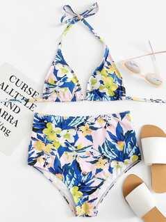 Botanical Print Halter Bikini Set