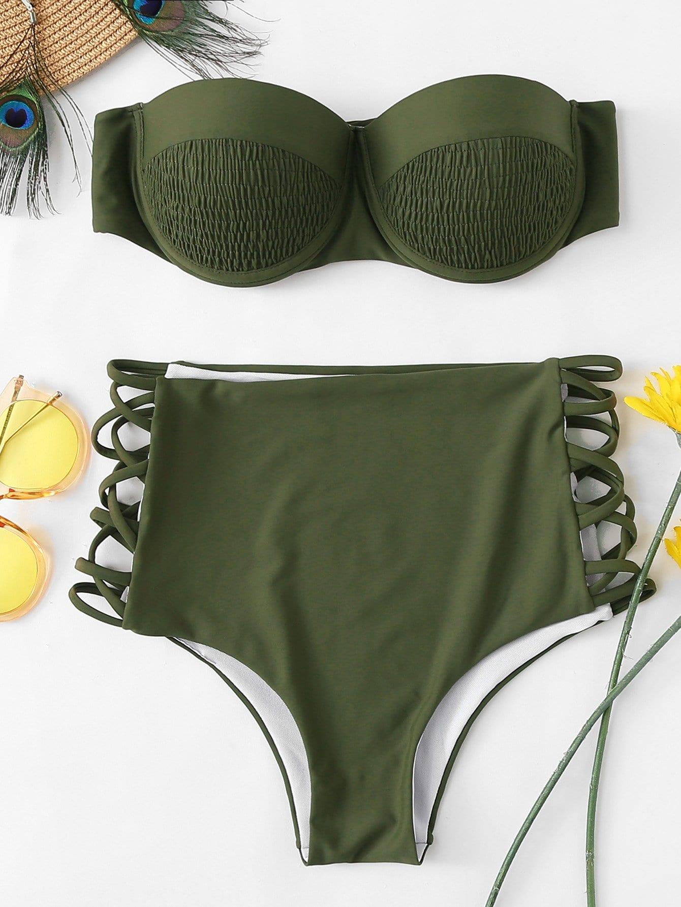 Купить Однотонный комплект бикини хальтер, null, SheIn
