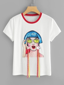 Studs & Flower Applique Figure Print Tee