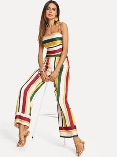 Striped Crop Cami Top & Wide Leg Pants Set