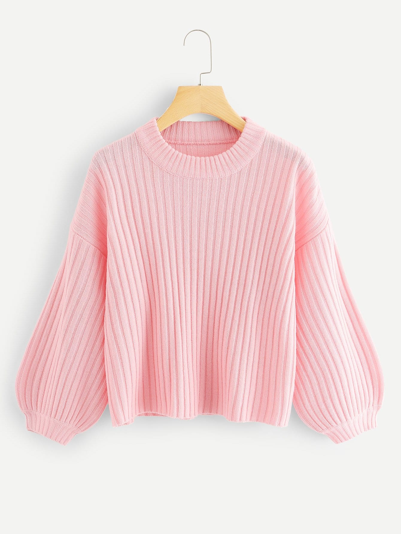 Bishop Sleeve Rib Knit Sweater guzzini