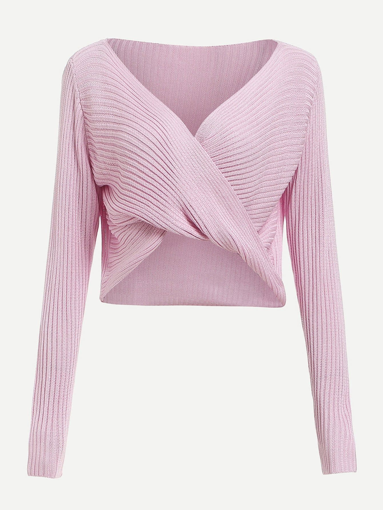 Twist & Wrap Front Ribbed Sweater twist front ribbed top