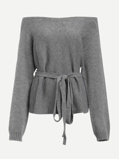 Off Shoulder Belted Sweater