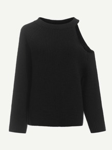 One Side Cutout Shoulder Sweater