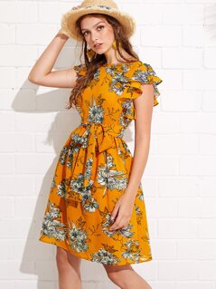 Flutter Sleeve Self Belted Floral Dress