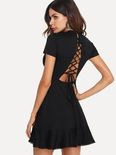 Lace Up Back Ruffle Hem Dress