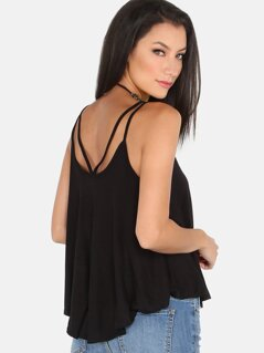 Double Strap Flow Cami Top BLACK
