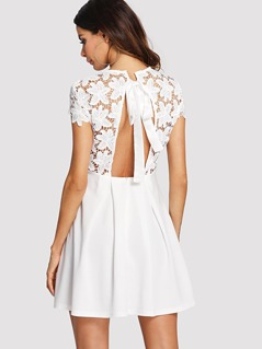Embroidery Lace Insert Tied Open Back Dress