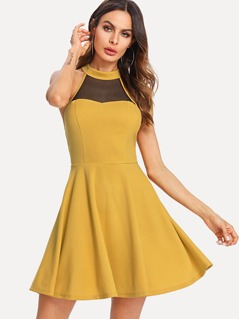Mesh Yoke Fit & Flare Dress