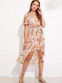 Flutter Sleeve Floral Dip Hem Dress