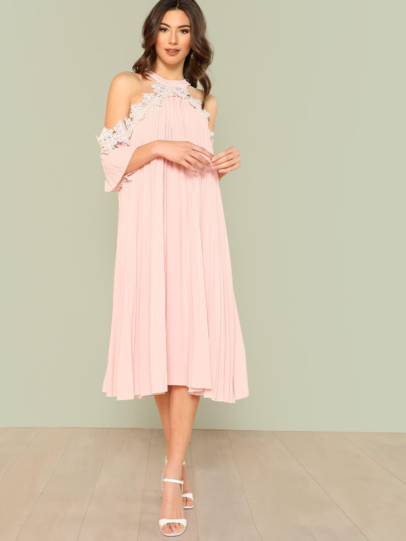 Купить Платье с открытыми плечами и аппликацией, Zandria Theis, SheIn