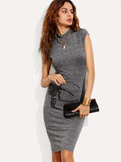 Marled Knit Fitted Midi Dress