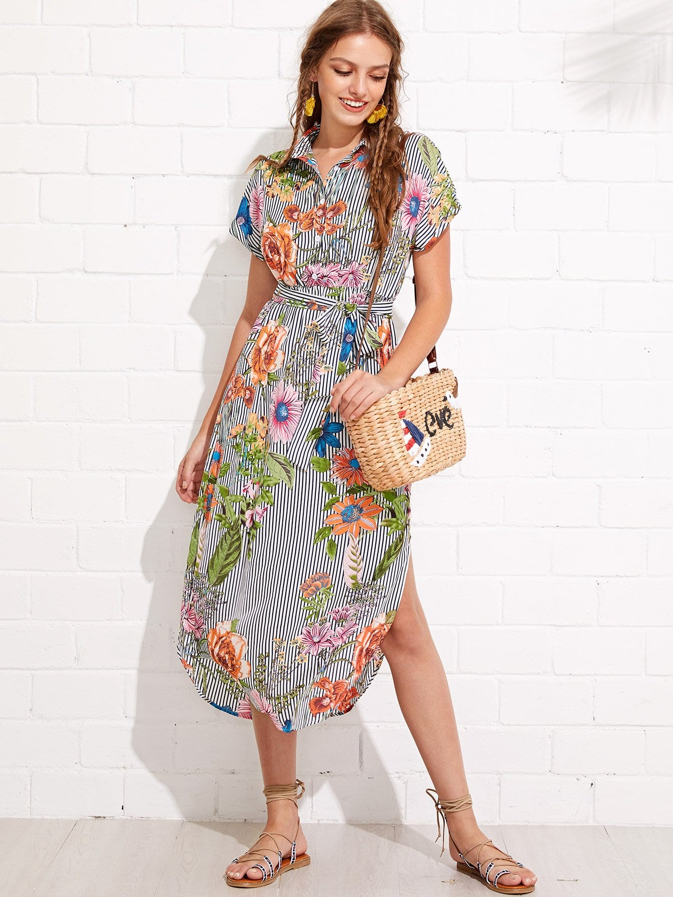 Flower And Stripe Print Curved Hem Shirt Dress stepped hem mixed stripe shirt