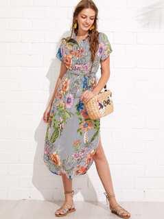 Flower And Stripe Print Curved Hem Shirt Dress