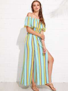 M-Slit Pompom Detail Striped Bardot Dress