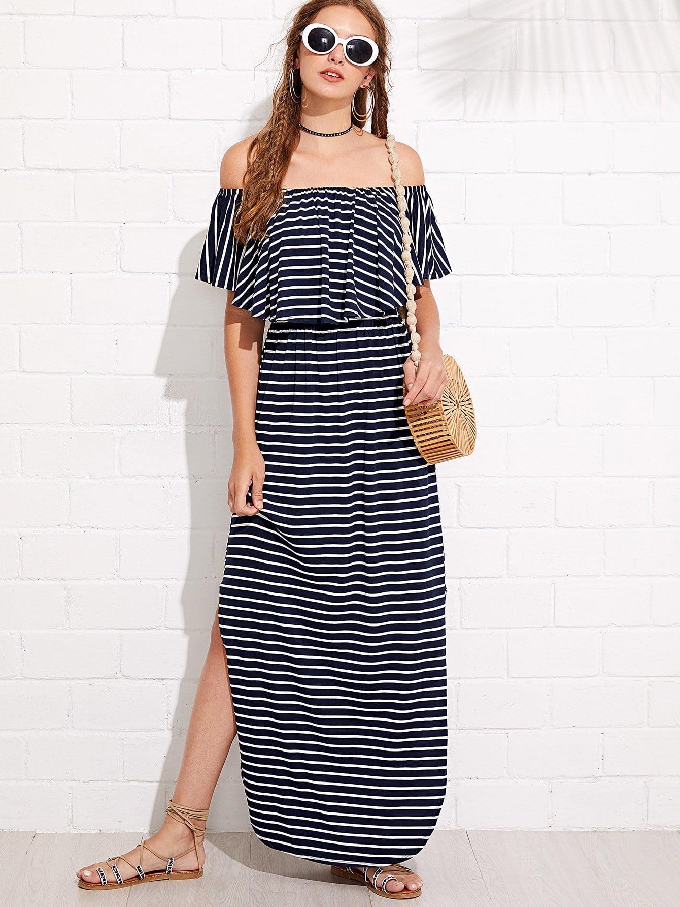 Flounce Layered Neck Striped Curved Hem Dress apricot v neck lace detail curved hem flared sleeve dress