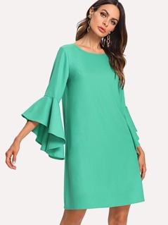 Flounce Sleeve V Cut Back Swing Dress