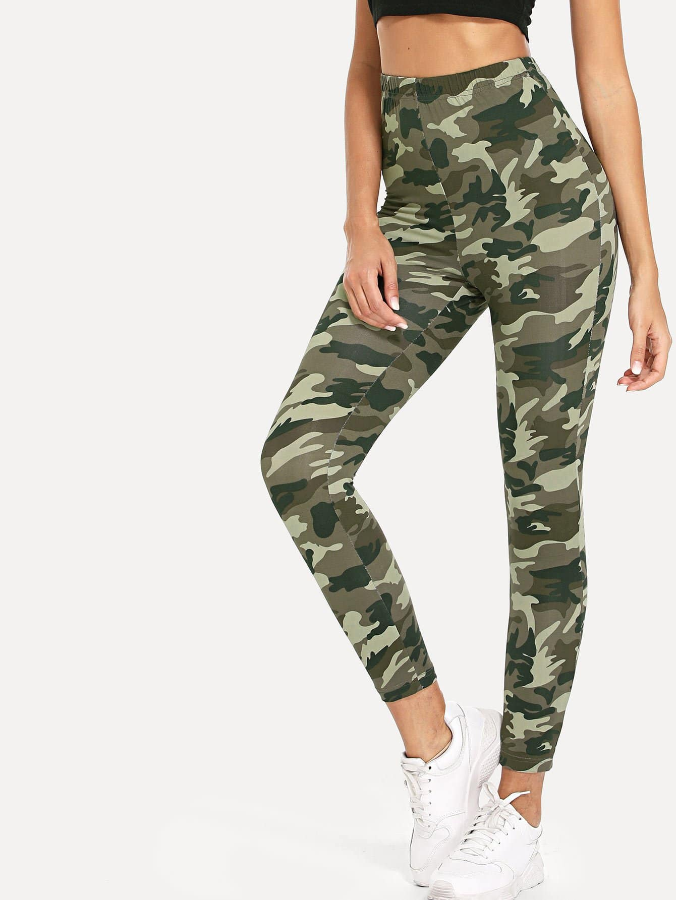 High Waist Camo Print Skinny Leggings high waist color block skinny sports leggings